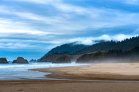 Cannon Beach Oregon, John Yeon State Natural Site, Pacific coast, beach, clouds, fog, Pacific Northwest